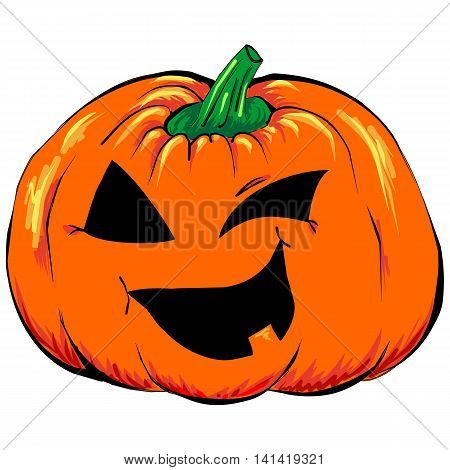 Halloween creepy Jack-o-lantern pumpkin vegetable isolated vector