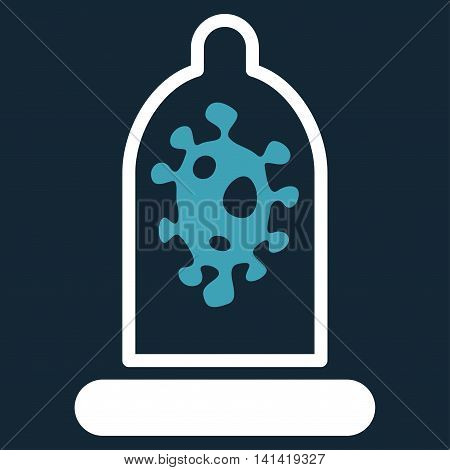 Infection Protection vector icon. Style is bicolor flat symbol, blue and white colors, rounded angles, dark blue background.