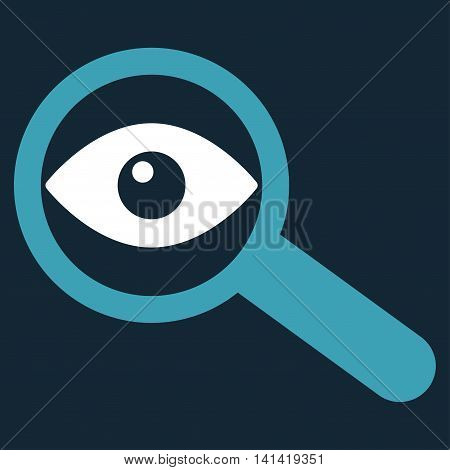 Investigate vector icon. Style is bicolor flat symbol, blue and white colors, rounded angles, dark blue background.