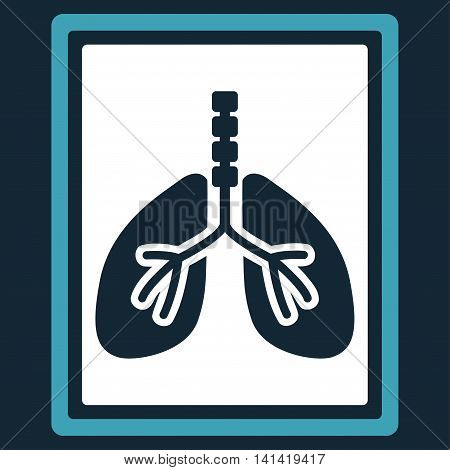 Lungs X-Ray Photo vector icon. Style is bicolor flat symbol, blue and white colors, rounded angles, dark blue background.
