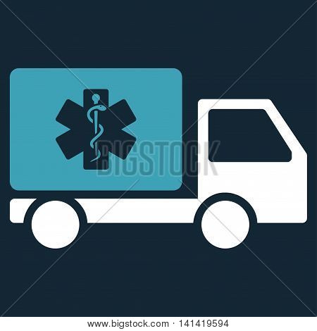 Medical Shipment vector icon. Style is bicolor flat symbol, blue and white colors, rounded angles, dark blue background.