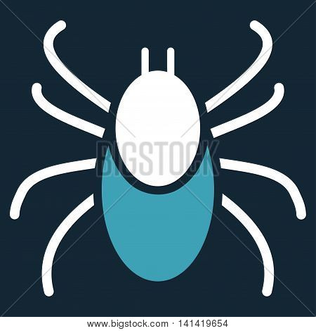 Mite vector icon. Style is bicolor flat symbol, blue and white colors, rounded angles, dark blue background.
