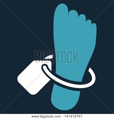 Mortuary Tag vector icon. Style is bicolor flat symbol, blue and white colors, rounded angles, dark blue background.