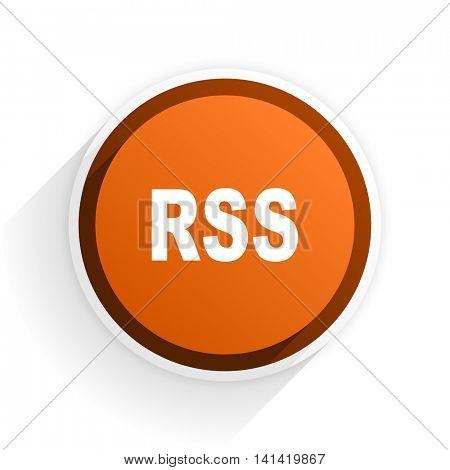 rss flat icon with shadow on white background, orange modern design web element