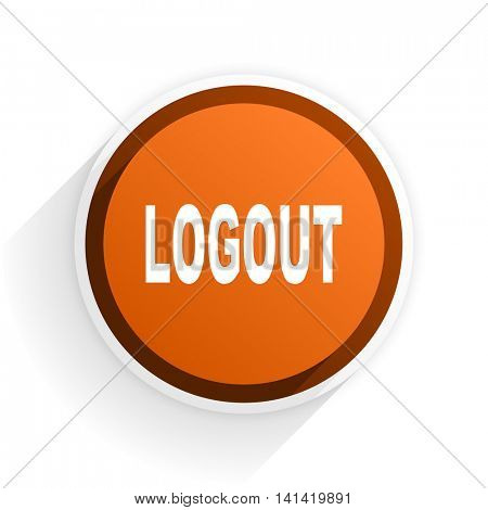 logout flat icon with shadow on white background, orange modern design web element