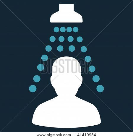 Patient Disinfection vector icon. Style is bicolor flat symbol, blue and white colors, rounded angles, dark blue background.