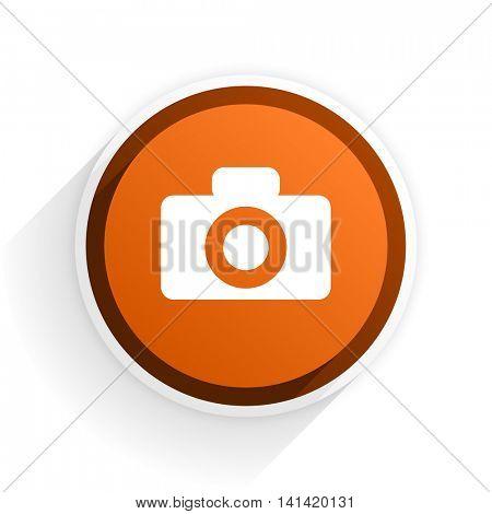 camera flat icon with shadow on white background, orange modern design web element