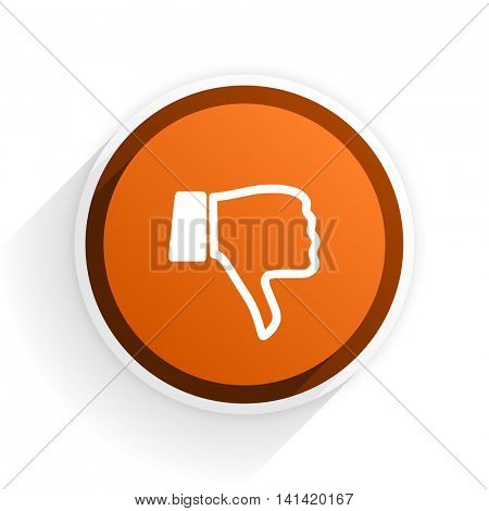 dislike flat icon with shadow on white background, orange modern design web element