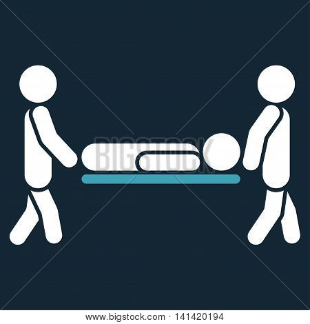 Patient Stretcher vector icon. Style is bicolor flat symbol, blue and white colors, rounded angles, dark blue background.