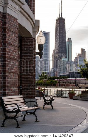 Park Bench on Navy Pier on a quiet Chicago summer afternoon