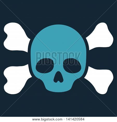 Skull And Bones vector icon. Style is bicolor flat symbol, blue and white colors, rounded angles, dark blue background.
