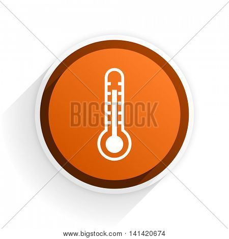 thermometer flat icon with shadow on white background, orange modern design web element