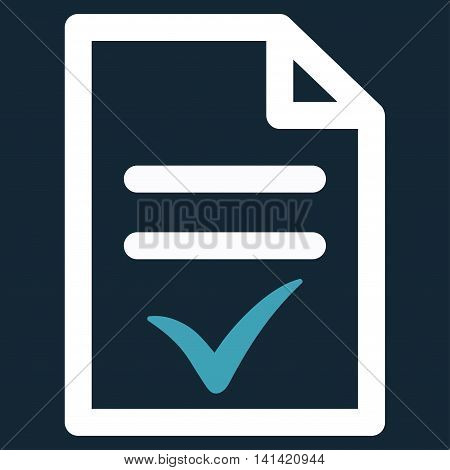 Valid Document vector icon. Style is bicolor flat symbol, blue and white colors, rounded angles, dark blue background.