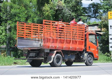 CHIANGMAI THAILAND -JULY 27 2016: Garbage truck of Nongjom Subdistrict Administrative Organization. On road no.1001 8 km from Chiangmai Business Area.