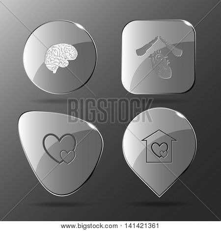 4 images: brain, protect, careful heart, orphanage. Medical set. Glass buttons. Vector illustration icon.