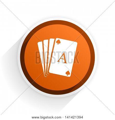 card flat icon with shadow on white background, orange modern design web element