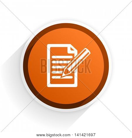 subscribe flat icon with shadow on white background, orange modern design web element