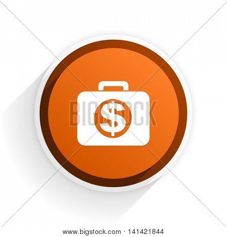 financial flat icon with shadow on white background, orange modern design web element
