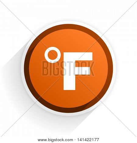 fahrenheit flat icon with shadow on white background, orange modern design web element