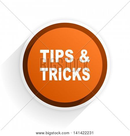 tips tricks flat icon with shadow on white background, orange modern design web element