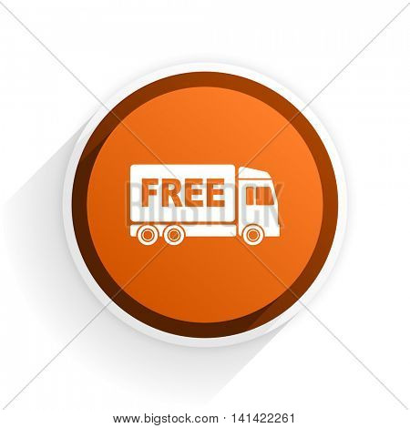 free delivery flat icon with shadow on white background, orange modern design web element