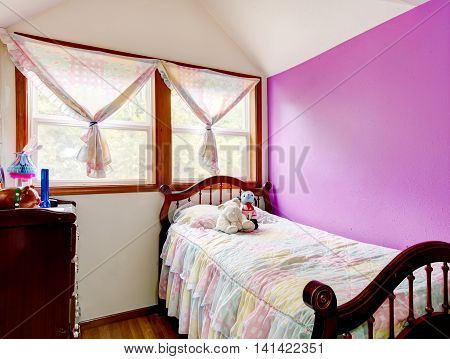 Attic Kids Bedroom With Contrast Purple Wall At The Horse Ranch.