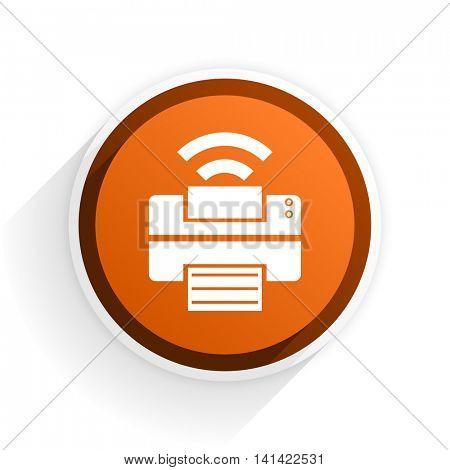 printer flat icon with shadow on white background, orange modern design web element