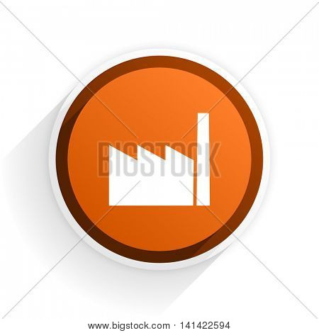 factory flat icon with shadow on white background, orange modern design web element