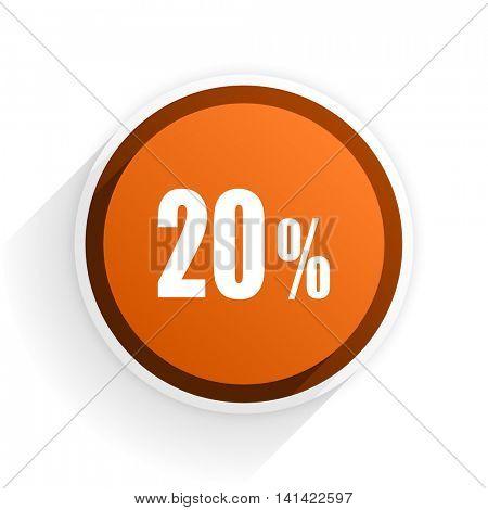 20 percent flat icon with shadow on white background, orange modern design web element
