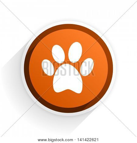 foot flat icon with shadow on white background, orange modern design web element