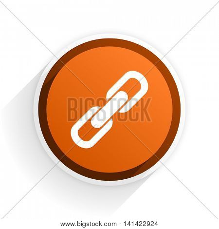 link flat icon with shadow on white background, orange modern design web element