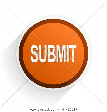 submit flat icon with shadow on white background, orange modern design web element