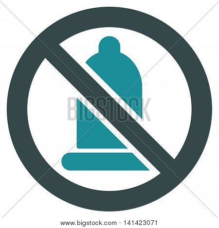 Forbidden Condom vector icon. Style is bicolor flat symbol, soft blue colors, rounded angles, white background.