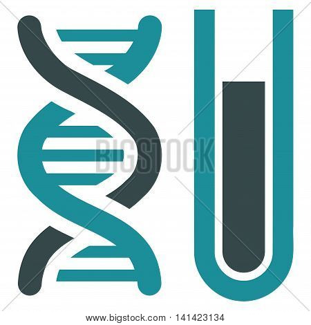 Genetic Analysis vector icon. Style is bicolor flat symbol, soft blue colors, rounded angles, white background.