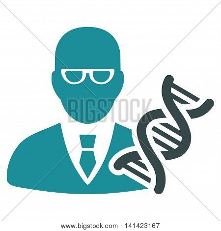 Genetic Engineer vector icon. Style is bicolor flat symbol, soft blue colors, rounded angles, white background.