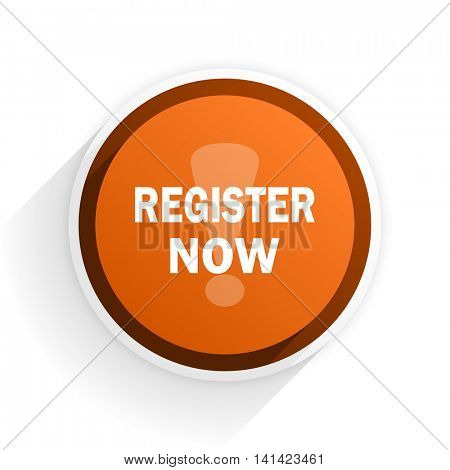 register now flat icon with shadow on white background, orange modern design web element