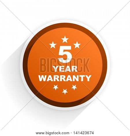 warranty guarantee 5 year flat icon with shadow on white background, orange modern design web element
