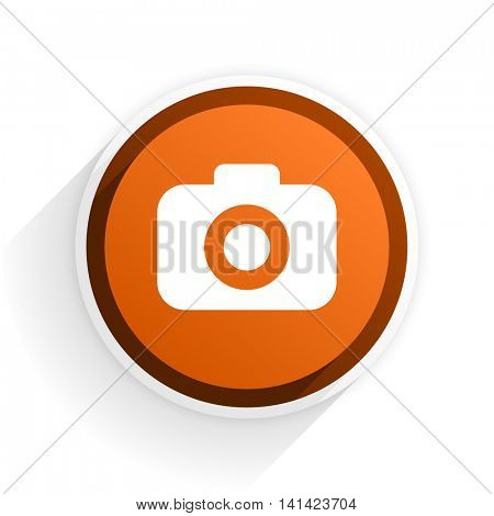 photo camera flat icon with shadow on white background, orange modern design web element