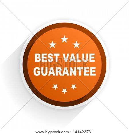 best value guarantee flat icon with shadow on white background, orange modern design web element