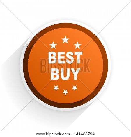 best buy flat icon with shadow on white background, orange modern design web element