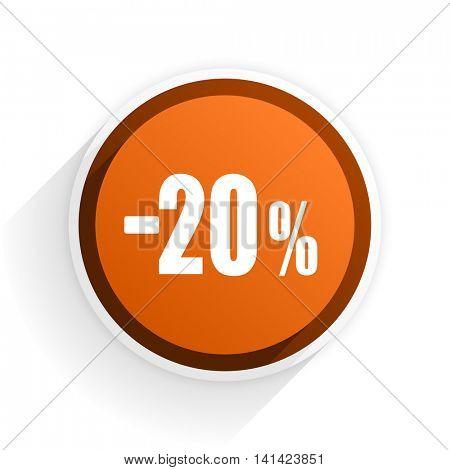 20 percent sale retail flat icon with shadow on white background, orange modern design web element