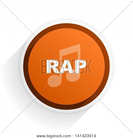 rap music flat icon with shadow on white background, orange modern design web element