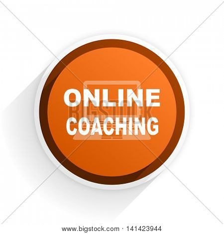online coaching flat icon with shadow on white background, orange modern design web element