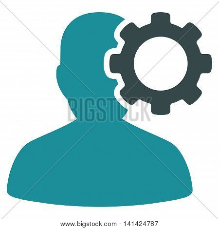 Migraine vector icon. Style is bicolor flat symbol, soft blue colors, rounded angles, white background.