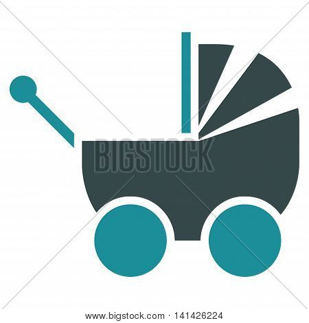 Pram vector icon. Style is bicolor flat symbol, soft blue colors, rounded angles, white background.