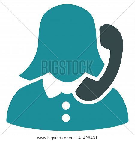 Receptionist vector icon. Style is bicolor flat symbol, soft blue colors, rounded angles, white background.