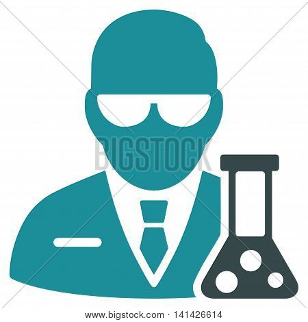 Scientist vector icon. Style is bicolor flat symbol, soft blue colors, rounded angles, white background.