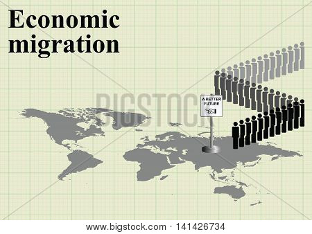 Representation of economic migrants queuing for a better future on world map on graph paper background with copy space for own text