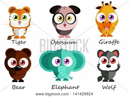 Wild. Set cute animals for use as stickers pictures in books games fabric and other projects