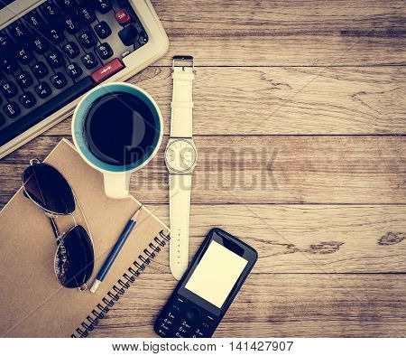 Office Desk With Coffee Background